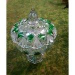 Большая чаша со стеклянной и стеклянной крышкой (зеленая)