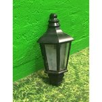 Black wall lamp in outdoor conditions