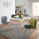 White-brown expandable dining table (lindholm) (140 x 90 cm) (with mini beauty bug)