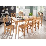 Light brown broad dining table