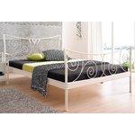 Широкая белая металлическая рама для кроватей 140x200