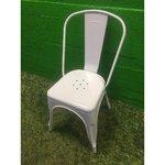 Balta metāla krēsls