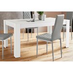 Special Offer! white dining table + gray soft chairs (2 pcs)