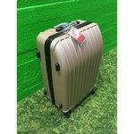 Plastikkattega väiksem reisikohver (pruun)