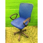 Blue office chair with armrests
