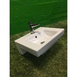 Small white sink Gustavsberg with mixer