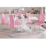 Large white high-gloss dining table