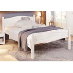 Narrow white solid wood bed 90x200