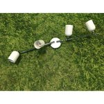 White and silver ceiling light with 4 movable dowels