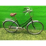 Black retro bicycle with lamp