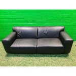 Black full leather sofa