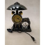 Black desk lamp clock