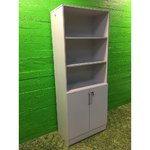 High light gray office locker with shelves