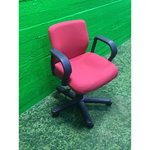 Red office chair on wheels
