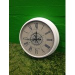 White large wall clock with glass