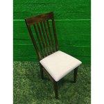 Tumepruun täispuit tool valge pehme istmega