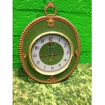 Retro wall clock golden / green