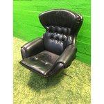 Melns šūpuļkrēsls ar ādas pārvalku