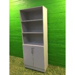Light gray office closet with 2 doors